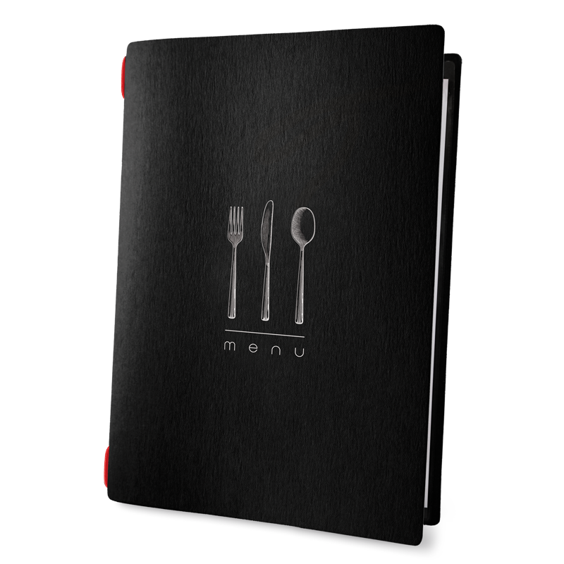 "menu cover CUSTOM A4 ""DINNER menu"" 2 envelopes elastic ECO BLACK th. 0.6"