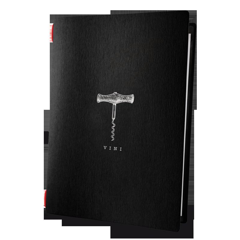 "porta menu CUSTOM A4 ""BACCO vini"" 2 buste elastico ECO NERO sp. 0.6"