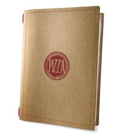 "porta menu CUSTOM A4 ""ROSSO PIZZA"" 2 buste elastico ECO NATURALE sp. 0.6"