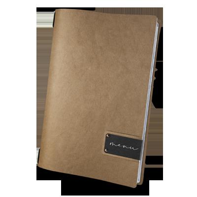"""porta menu A4 etichetta PATCH nera """"menu"""" 4 buste cord. elastico ECOMODA NATURALE sp. 0.6"""