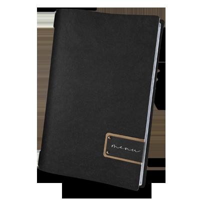 "porta menu A4 etichetta PATCH nera ""menu"" 4 buste cord. elastico ECOMODA NERO sp. 0.6"