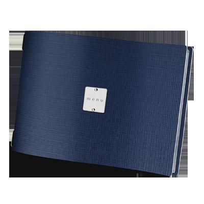 "menu cover A4 HORIZONTAL GLOSSY label ""menu"" 4 envelopes elastic cord CHEF BLUE"