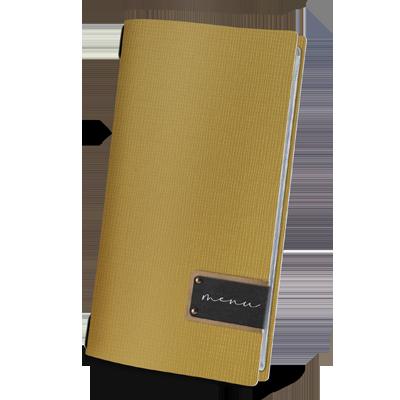 "menu cover 4RE black PATCH label ""menu"" 4 envelopes elastic cord CHEF OCHER"