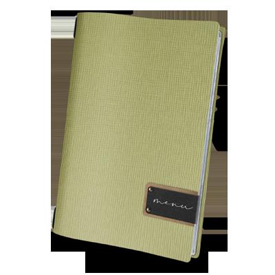 "menu cover A4 black PATCH label ""menu"" 4 envelopes elastic cord CHEF SAGE"