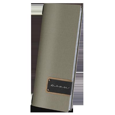 "menu cover CLUB GREY PATCH label ""menu"" 4 envelopes elastic cord CHEF GREY"