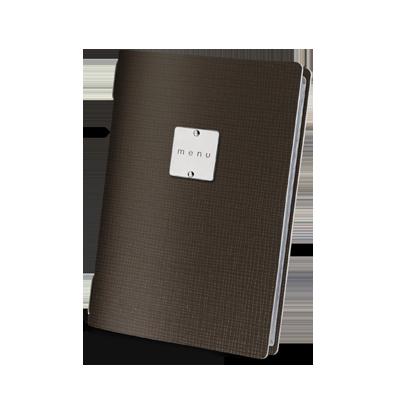 "menu cover GOLFO GLOSSY label ""menu"" 4 envelopes elastic cord CHEF BROWN"