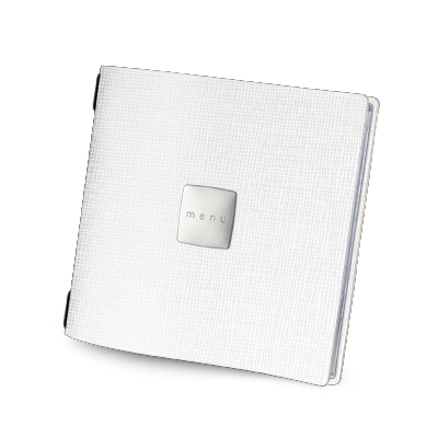 "menu cover QUADRATO SATIN label ""menu"" 4 envelopes elastic cord CHEF WHITE"
