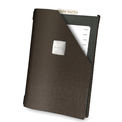 "MENU COVER WINDOW A4 SATIN label ""menu"" BLACK elastic cord 1 frame x 4 sides CHEF BROWN"