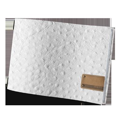 """menu cover A4 HORIZONTAL PATCH label """"menu"""" 4 envelopes elastic cord FASHION WHITE OSTRICH"""