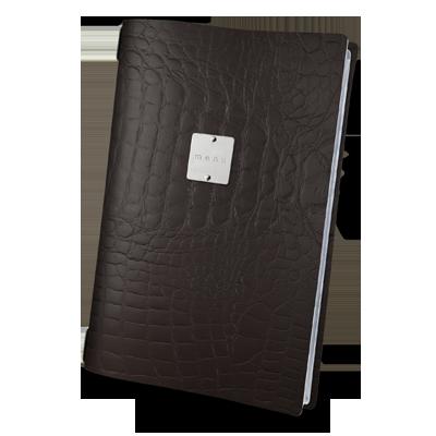 "menu cover A4 GLOSSY label ""menu"" 4 envelopes elastic cord FASHION BROWN COCCO"