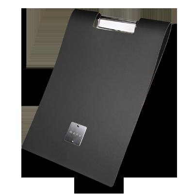 "eco hotel CITY GLOSSY label ""menu"" block sheets clamp FASHION SMOOTH BLACK"