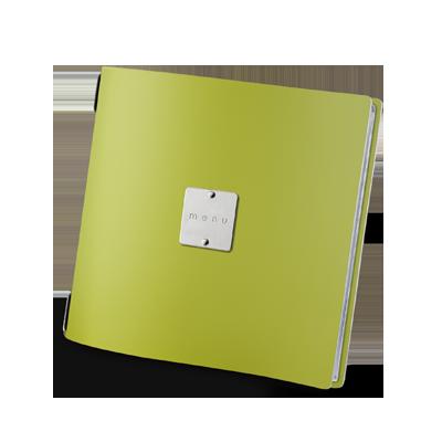 """menu cover QUADRATO GLOSSY label """"menu"""" 4 envelopes elastic cord FASHION GREEN"""