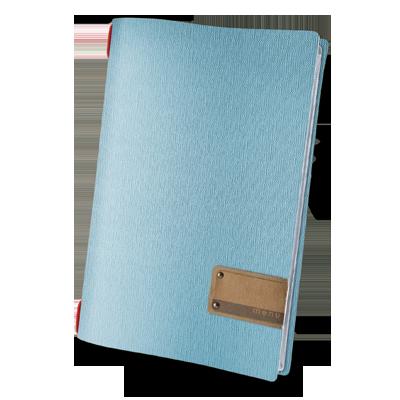 "menu holder A4 PATCH label ""menu"" 4 envelopes elastic cord JUTE SKY BLUE"