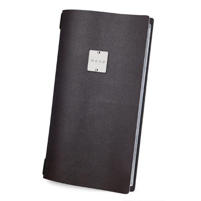 "menu holder 4RE glossy label ""menu"" 4 envelopes elastic cord brown"
