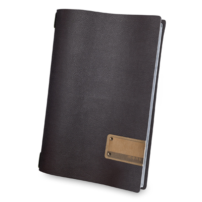 "menu holder A4 PATCH label ""menu"" 4 envelopes elastic cord brown"