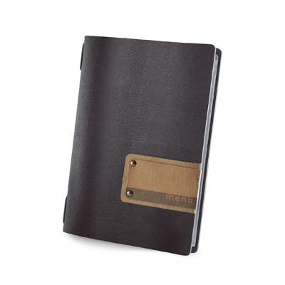 "menu holder GOLFO PATCH label ""menu"" 4 envelopes elastic cord brown"