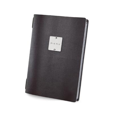 """menu holder GOLFO glossy label """"menu"""" 4 envelopes elastic cord brown"""