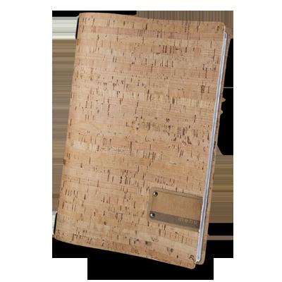 "menu cover A4 PATCH label ""menu"" 4 envelopes elastic cord CORK NATURAL th. 1.4"