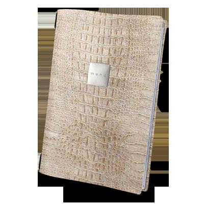 "menu cover A4 SATIN label ""menu"" 4 envelopes elastic cord CORK WHITE KROKO th. 2.5"