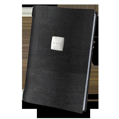 "menu cover A4 SATIN label ""menu"" 4 envelopes elastic cord CORK BLACK th. 2.5"