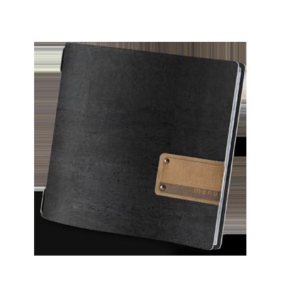 "menu cover QUADRATO PATCH label ""menu"" 4 envelopes elastic cord CORK BLACK th. 2.5"