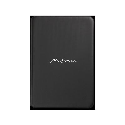 porta menu TOSCANA A5 scritta menu serigrafata 6+2 buste NERO TEX